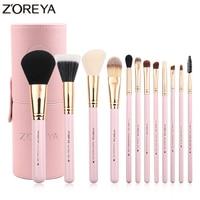 ZOREYA Brand 12Pcs Colorful Luxury Makeup Brushes Set Professional Synthetic Hair Brush Set Lip Blush Makeup