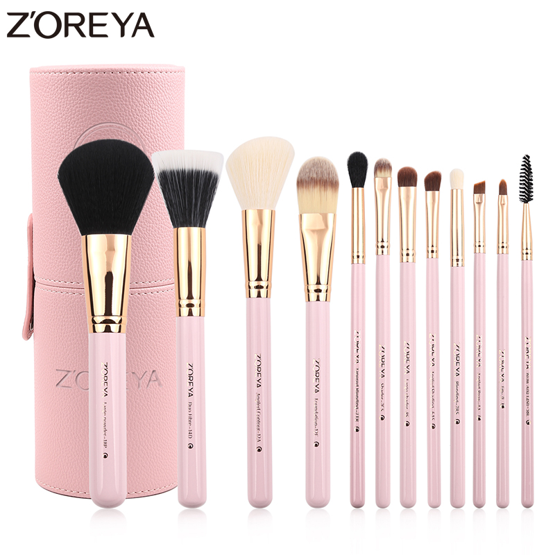 Zoreya Brand 12Pcs Colorful Luxury Makeup Brushes Set Professional Synthetic Hair Brush Set Lip blush makeup cosmetic Brushes
