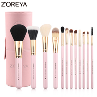 Zoreya Brand 12Pcs Makeup Brushes Set Cosmetic Brushes Tool Foundation Powder Makeup Kit Beauty Makeup Holder