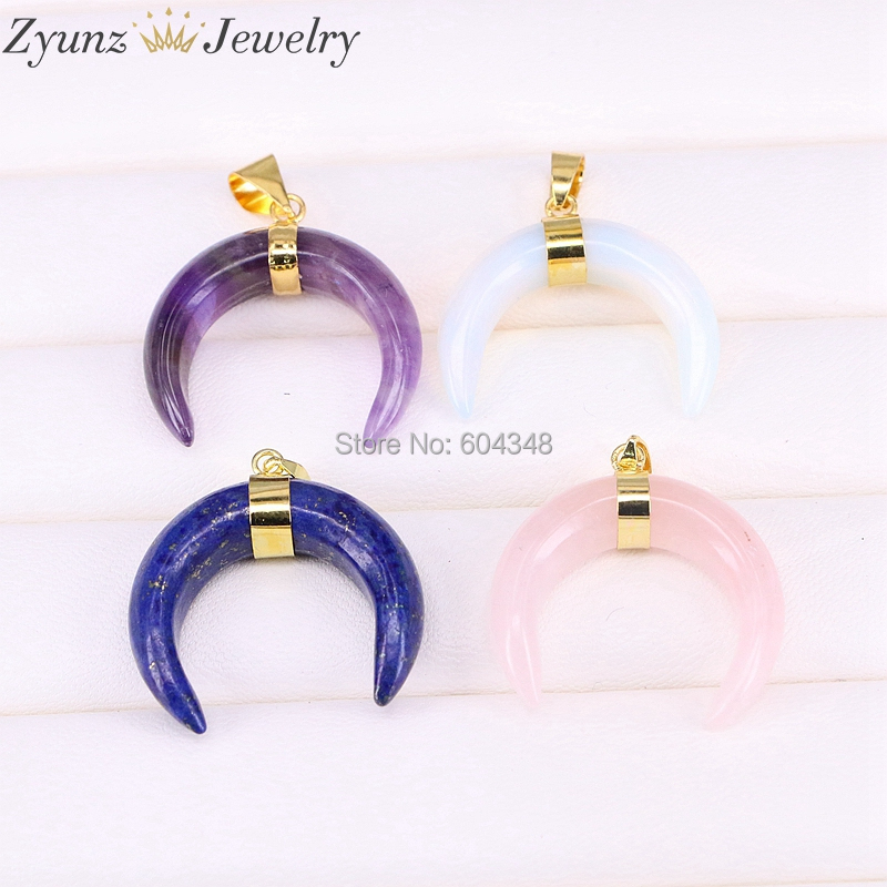 5PCS ZYZ191-0184 Purple Pink Blue Quartz Stone Bead Moon Horn Double Gems Pendant Jewelry(China)