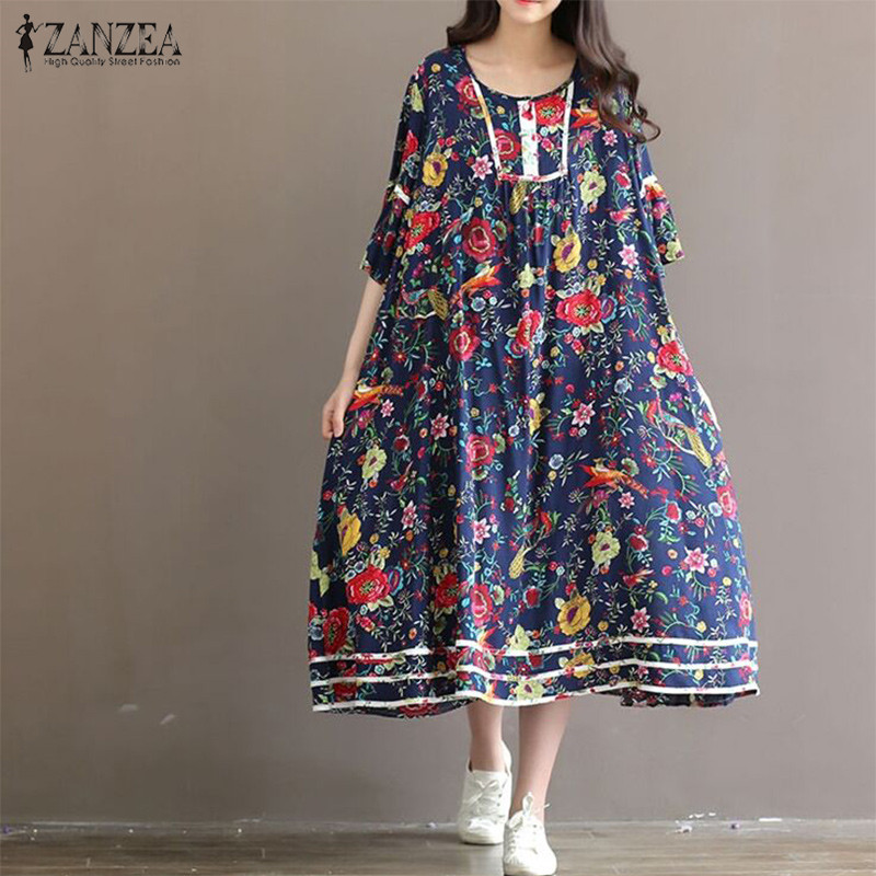 ZANZEA Women Dress 2018 Vintage Floral Print Dresses Flare Sleeve O Neck Long Dress Casual Loose Plus Size Oversized Vestidos
