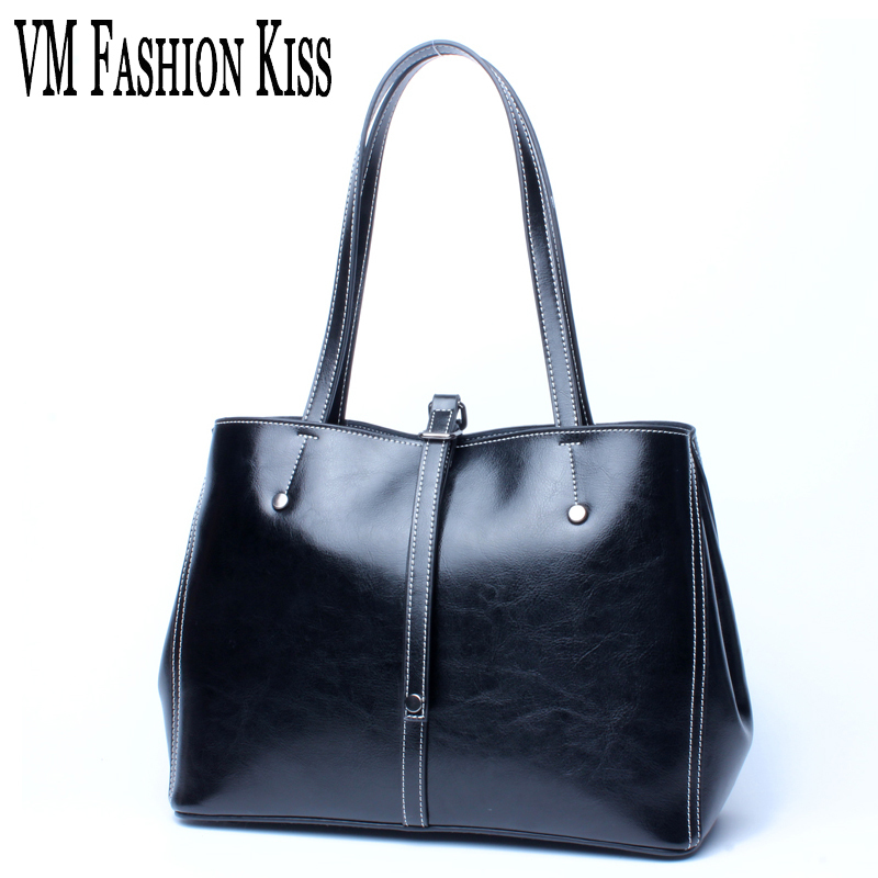 VM FASHION KISS Women Oil Wax Genuine Leather Neverfull Bag Female Casual Tote Solid Color Shoulder Bags Designer Luxury Brand new 2017 fashion brand genuine leather women handbag europe and america oil wax leather shoulder bag casual women