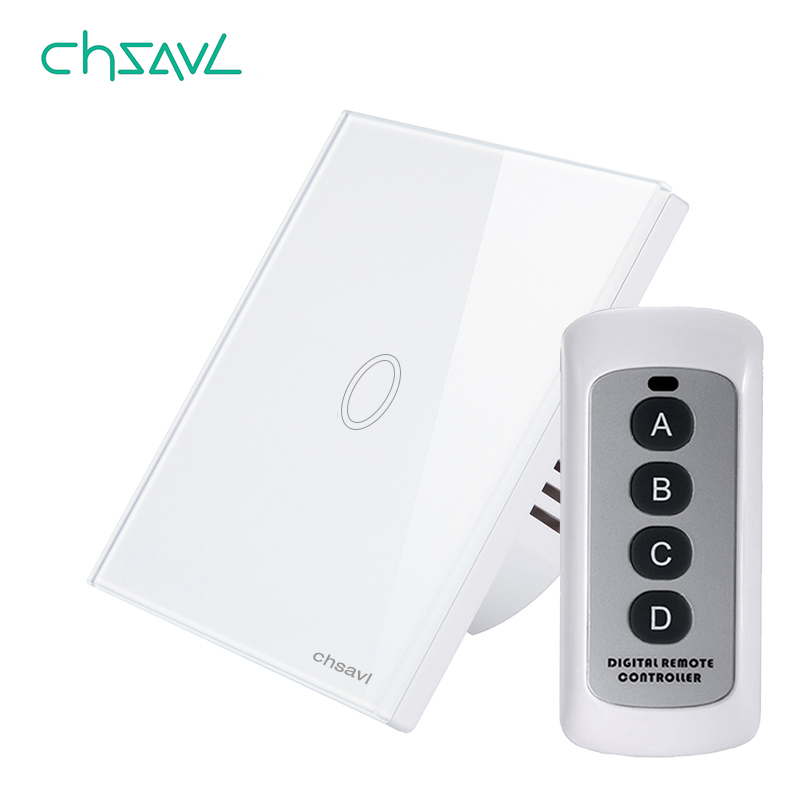 CHSAVL EU/UK Standard Wireless Remote Control Light Switch 1 Gang 1 Way White Glass Panel Wall Touch Switch for RF433 Smart HomeCHSAVL EU/UK Standard Wireless Remote Control Light Switch 1 Gang 1 Way White Glass Panel Wall Touch Switch for RF433 Smart Home