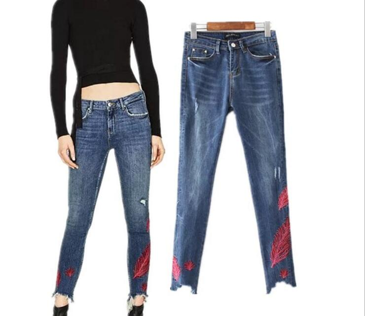 High Quality Feathers Embroidered Jeans Pants Clothes Women Elasticity High Waist Washing Pencil Pants Denim Jeans
