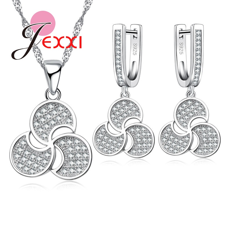 Jemmin  New CZ Crystal Necklace Pendant Chain Earrings for Women Set Clover Wedding S90 Silver Color Jewelry SetsJemmin  New CZ Crystal Necklace Pendant Chain Earrings for Women Set Clover Wedding S90 Silver Color Jewelry Sets