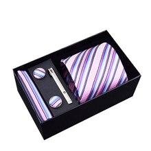Men Ties Sets Hanky Cufflink& Clips Gift Box Stripes Paisley Dots Neckties Set Gravata Cortabata for men