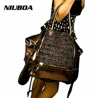 NIUBOA 100 Nature Cow Genuine Leather Women Tote First Layer Cow Female Weaving Messenger Bags Satchel