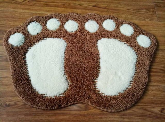 Classical Brown Bath Rug Bibulous Suede Floor Mat For Bathroom Carpet Foot  Shape Bath Mats Non
