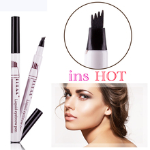 Brand New Eyebrow Pencil Waterproof Fork Tip Eyebrow Tattoo Pen 4 Head Fine Sketch Liquid Eyebrow Enhancer Dye Tint Pen(China)