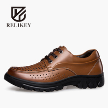 RELIKEY Brand Summer Carved Polka Dot Breathable Ankle Men Boots Full Grain Leather Lace-Up Shallow Handmade Work Safety Boots