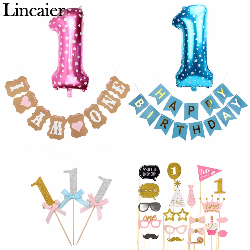 Lincaier 1st Birthday I Am One Kraft Paper Banner Baby Boy Girl My 1 Party Decoration First Year Garland Bunting Supplies