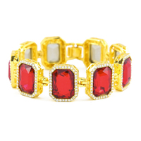 Top Fashion Luxury Iced Out Red Black Blue Stone Men S Hiphop Bracelet Bling Bling Gold