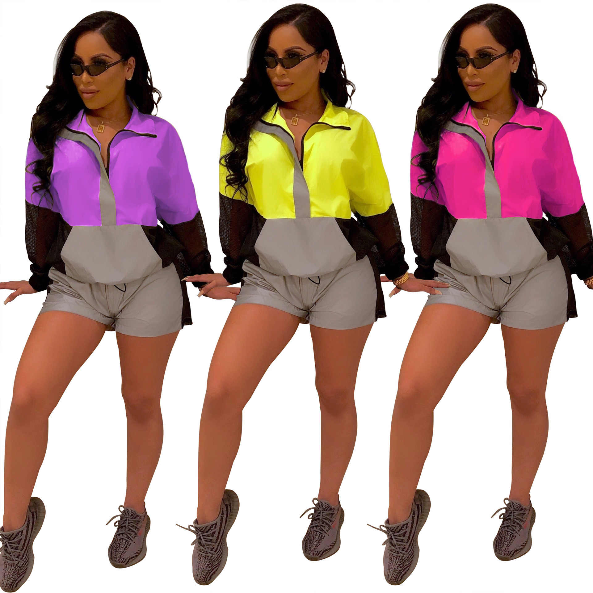 2019 women's long-sleeved splice zipper trench top shorts suit 2 pieces sport safari tracksuit suit 3 color QJ5239