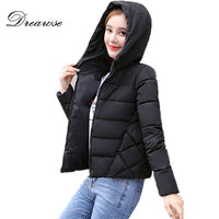 Dreawse Winter Wadded Cotton Solid Color Women Loose Thick Coat Hooded Short Casual Camperas Mujer Abrigo Invierno Jacket MZ2907