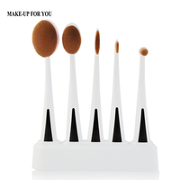 New 5 Piece Soft Make Up Toothbrush Shape Oval Makeup Brushes Set Cosmetic Tools Kit For
