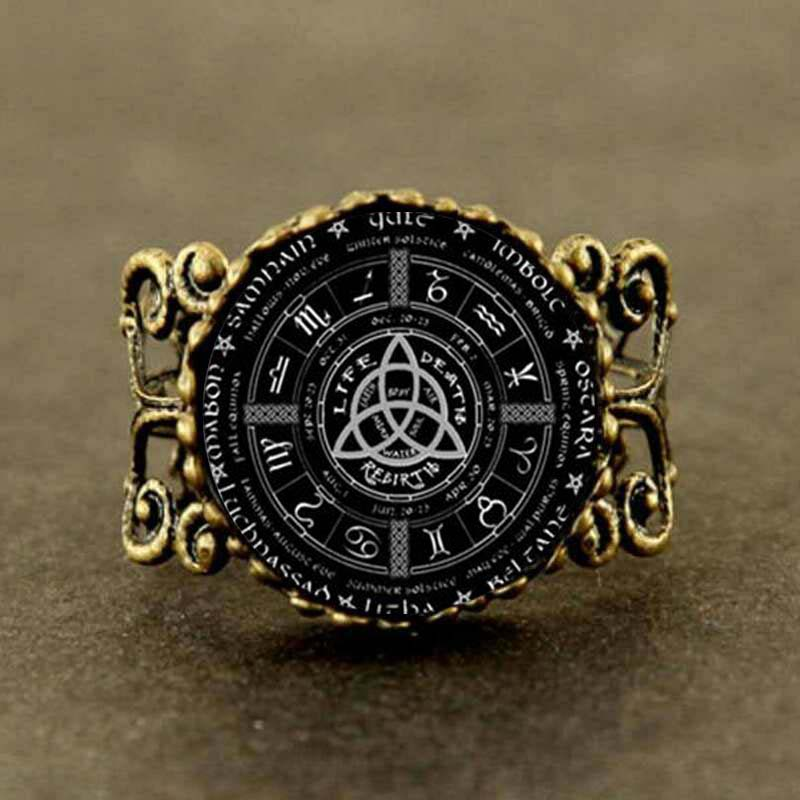 2017 new pagan wheel of the year pentagram ring round photo wiccan jewelry glass cabochon link - Pagan Wedding Rings