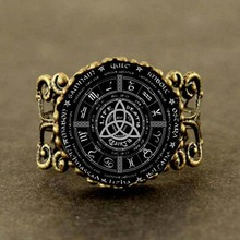 Qiyufang rings New Pagan Wheel Of The Year Pentagram Ring Round Photo Wiccan Jewelry Glass Cabochon Link 2017 steampunk vintage