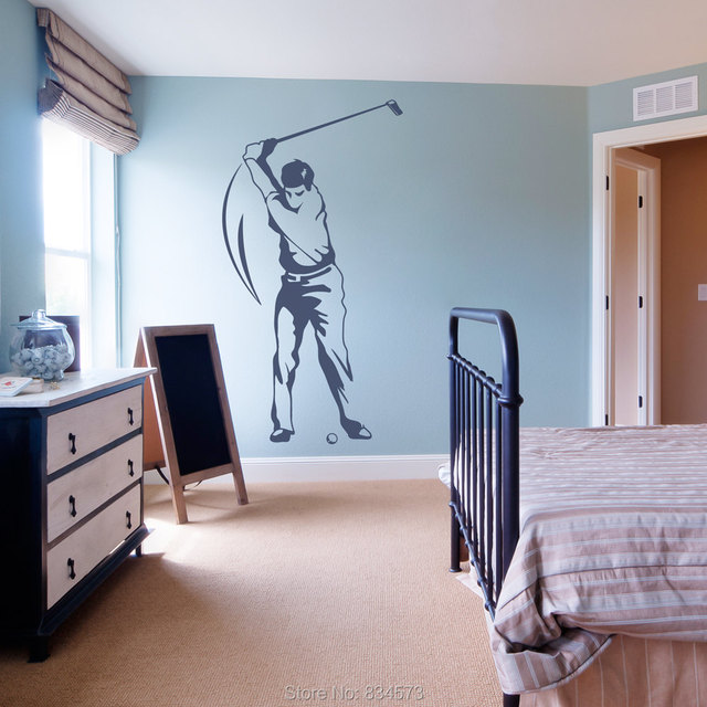 Golfer Man Sports Silhouette Wall Art Stickers Wall Decal Home DIY Decoration Wall Mural Removable Bedroom & Golfer Man Sports Silhouette Wall Art Stickers Wall Decal Home DIY ...