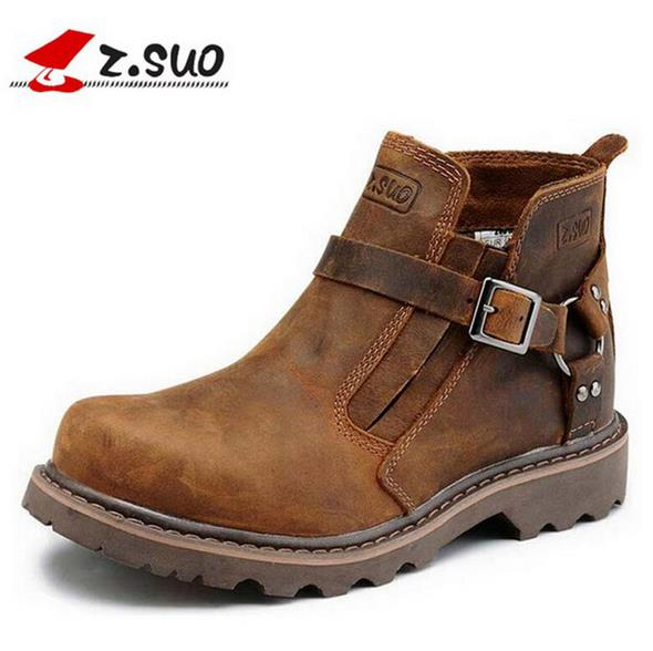 ФОТО Z. Suo 2017 Cowhide Genuine Leather Martin Men shoes kanye west Top quality designer platform buckle luxury Chelsea mens boots