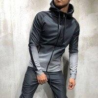 ZOGAA Men's Sportswear Two Piece Set Mens Casual Hooded Sports Wear Men's Tracksuit Training Sweat Suit Men Track Suit M 3XL