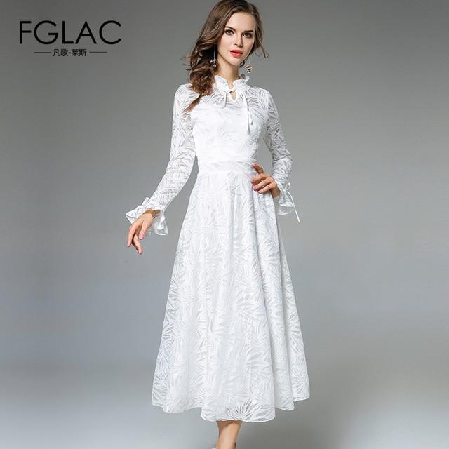 7142355aa7 FGLAC Nowości 2018 Wiosna kobiety sukienka Elegancka Szczupła wysoka talia koronkowa  sukienka Moda Flare Rękawem biała
