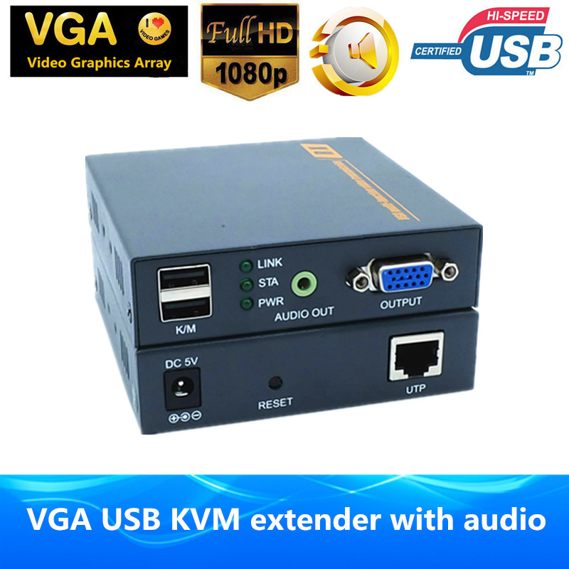 Free Shipping ZY DT206CKM IP Network 200M VGA Extender Over Cat5e 6 Support 1080P Keyboard Mouse