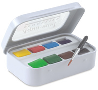 Freeshipping Sennelier top solid 8 color watercolor paints rock with pen professional mini set watercolor artist