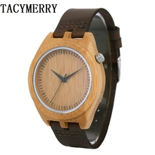 Mens Bamboo Wood Watches Japan  2035 Quartz Watch Pointer Logo Laser Customized Item Dropshipping