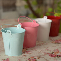 2pcs Colorful Mini Metal Bucket Candy Favours Box Pail Wedding Party Gifts For For Flowers Gift