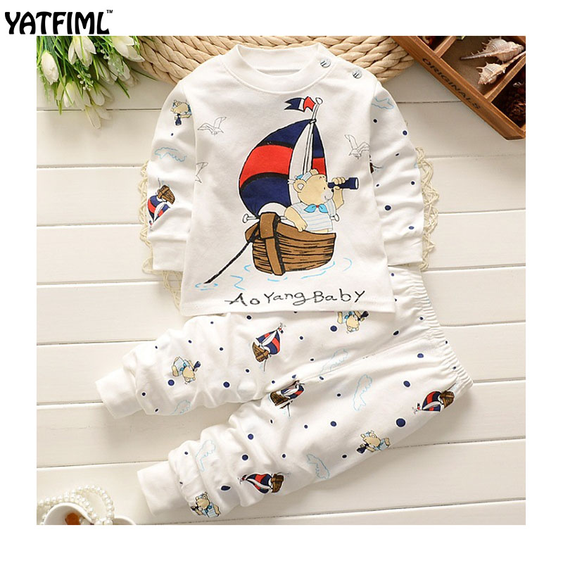 YAFIML 2017 Autumn Winter   pajamas   for girls boys toddler baby   pajamas     set   Children sleepwear top+pants 2pcs 100%cotton knitted
