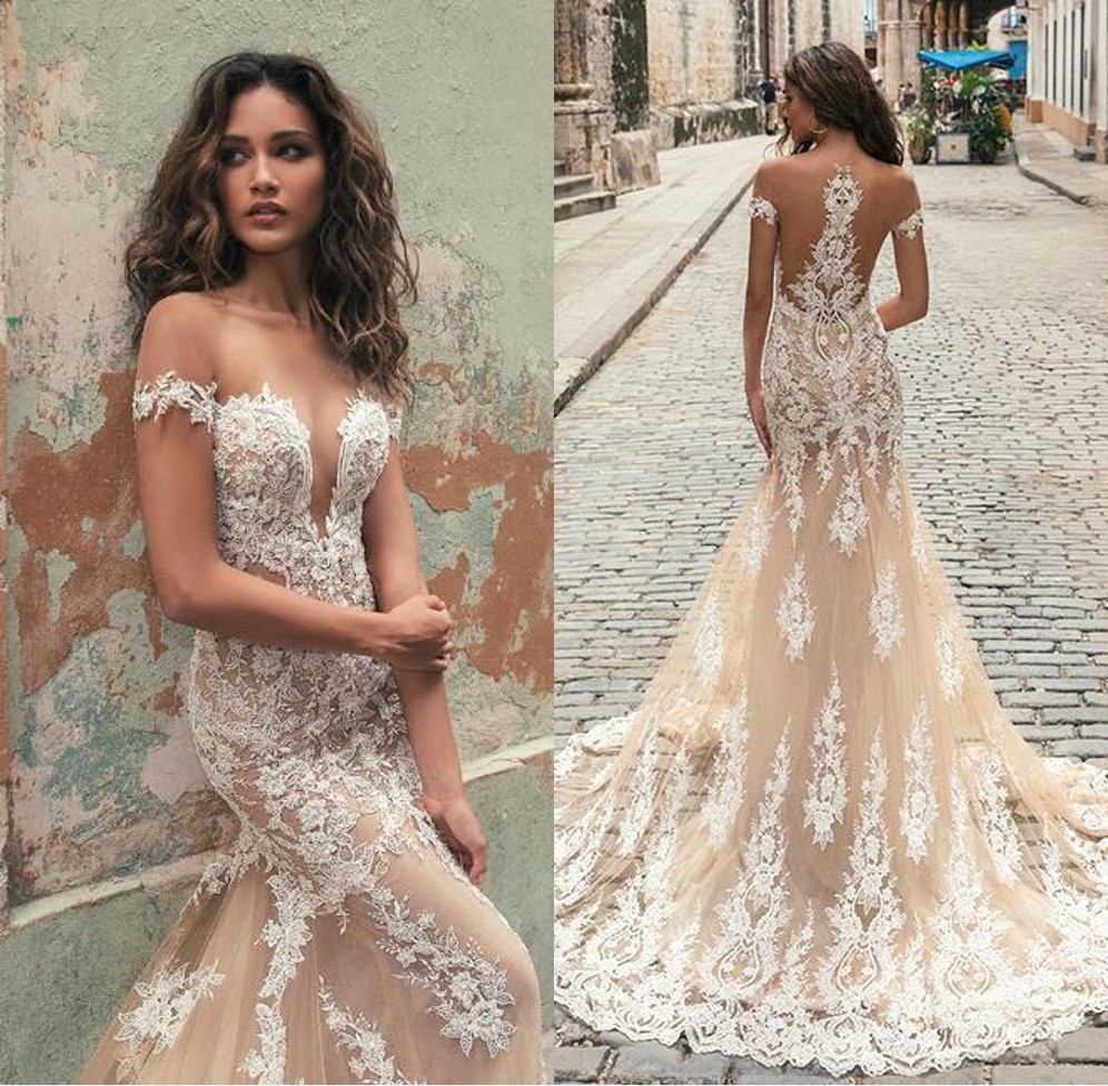 Vestido De Noiva	Illusion Back Mermaid Champagne Lace Wedding Dresses 2019 Off The Shoulder Appliques Tulle Wedding Gowns