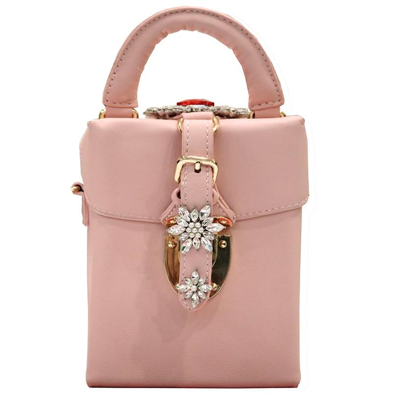 где купить New Women Diamond Bag Fashion Box Sesigner Shoulder bag 2018 Ladies Pink Luxury Handbags High Quality PU Leather Messenger Bag по лучшей цене