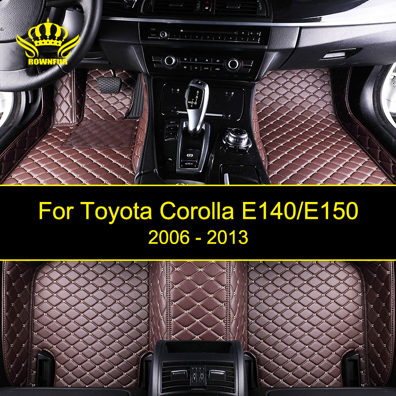 ROWNFUR Car Floor Mats For Toyota Corolla E140/E150 Waterproof Custom Leather Floor Mat Car-styling Interior Car Carpet Mat colts car floor mat set of 2 nfl