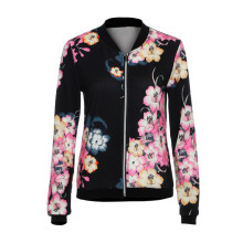 2019 Hot sale Womens Autumn Slim Jacket Coat Fashion Ladies Biker Celeb Flower B