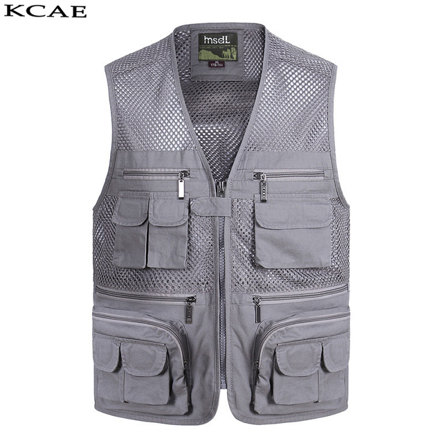 New Summer Casual Breathable Mesh Vest Men Fast Dry Photographer Sleeveless Jacket Multi-Pockets Outdoors Hike Hunt Fish Vest