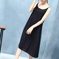 2017 nueva saludable bajo el vestido de seda de las mujeres desliza resbalones completos contra vaciado íntimos diario slip vestido de piel negro blanco