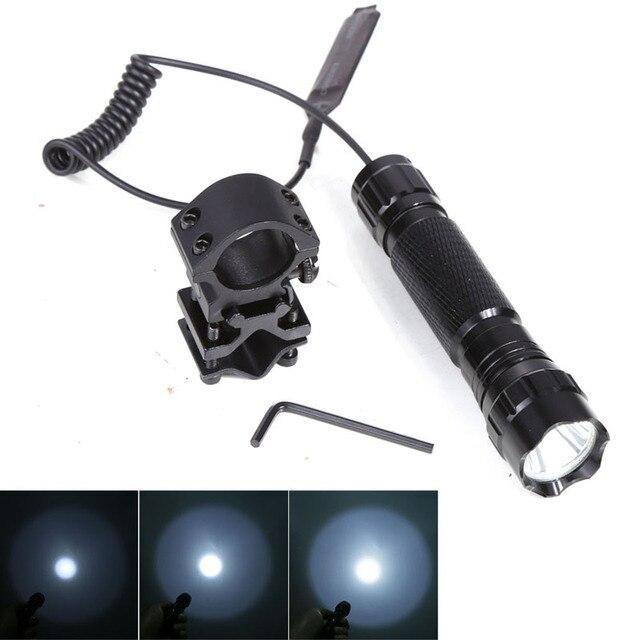 LED Tactical Flashlight Torch T6 5 Mode Flash Light Lanterna lampe torche + Remote Pressure Switch & Gun Mount