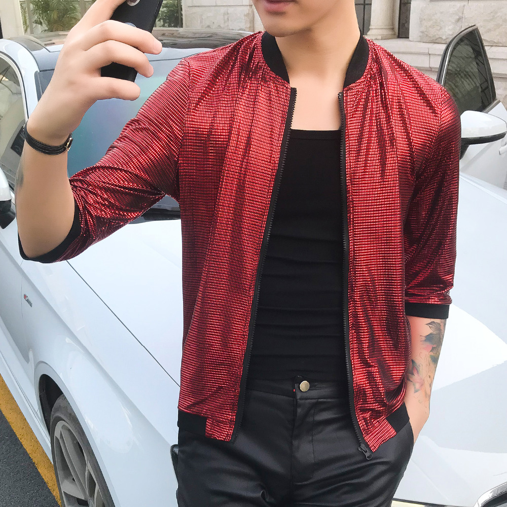 Quality Summer Bomber Jacket 2019 Slim Fit Half Sleeve Sun Protection Clothing Solid Thin Night Club Jackets Men Clothes 5XL-M
