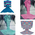 9 Size Hot Sell Mermaid Tail Blanket Handmade Crochet Mermaid Blanket Kids Adult Throw Bed Wrap Super Soft Sleeping Bed