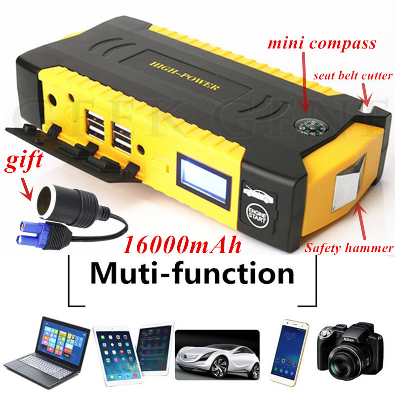 Car Jump Starter Emergency 16000mAh 12V Starting Device 4USB SOS LED Light Mobile Power Bank Car Charger For Car Battery Booster