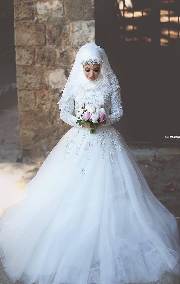 Beaded Lace Appliques Long Sleeves Muslim Modest Wedding Dresses 2019 Vestido De Noiva Turkey Arabic Bridal Gowns Custom Made