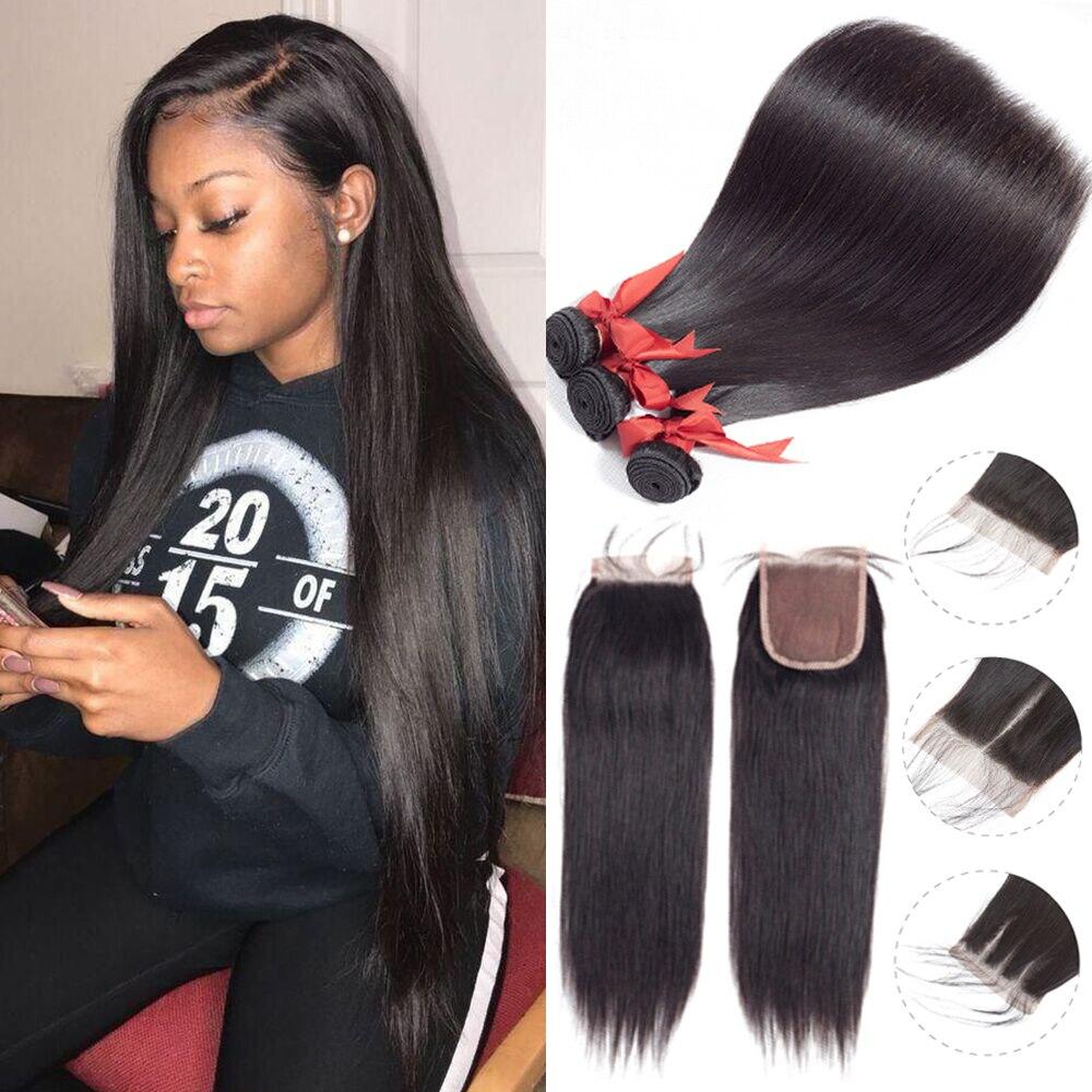 Beaudiva Brasilianische Haar weben Gerade Menschliches Haar 2/3 Bundles Mit Verschluss 100% Menschliches Haar Bundles Mit Verschluss Haar Verlängerung
