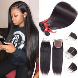 Beaudiva бразильские волосы переплетения прямые натуральные волосы 2/3 Связки с синтетическое закрытие волос натуральные волосы 100% Связки с