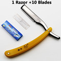 1set Men Straight Barber edge Razors Folding Shaving Knife Hair Removal Tools With 10pcs Blades 77-03