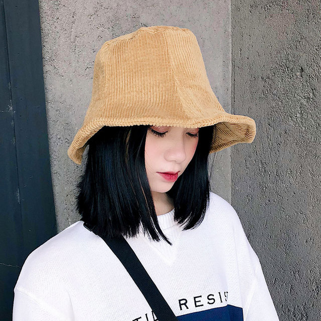 Women Hat Elegant Bucket Hats Corduroy Outdoor Women Hats Winter 2018  Autumn Casual Bucket Hats Japanese Style Black White Pink fb3e47759260