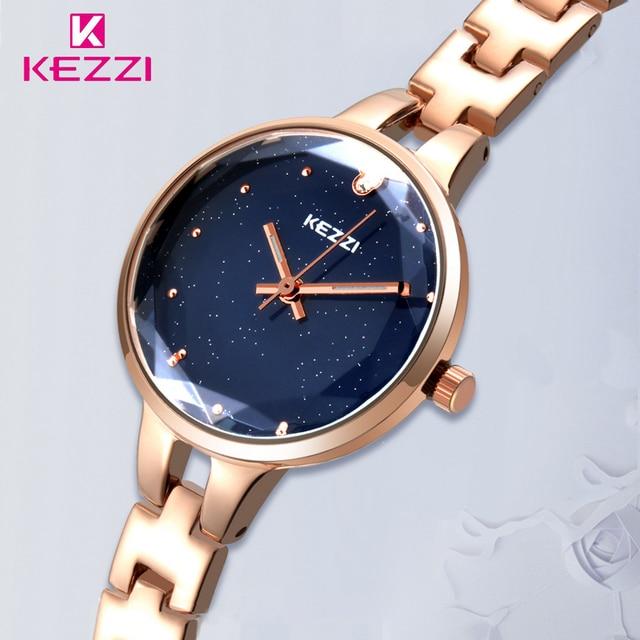 Kezzi Brand Women Bracelet Watch Ladies Starry Sky Blue Stainless Steel Dress Qu