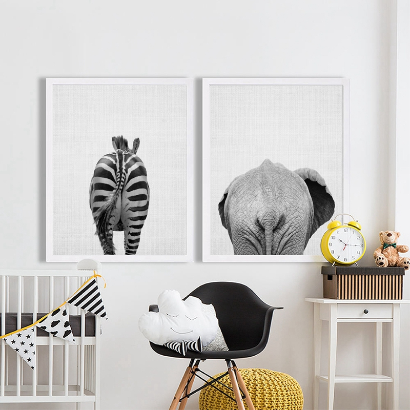 Us 2 87 20 Off Animal Elephant Canvas Painting Modern Decor Wall Picture Zebra Paintings Bathroom Art Funny In