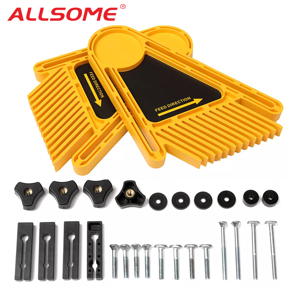ALLSOOME Feather Loc Board Set Woodworking Engraving Machine Double Featherboards Miter Gauge Slot Router Table Saws