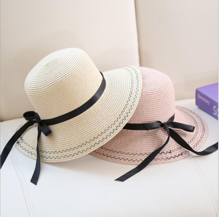 2018 summer straw hat For Women fresh wave style girls bow Hats holiday Beach  sun shade cap chapeau femme -in Sun Hats from Women s Clothing    Accessories ... 5fa611c8a099