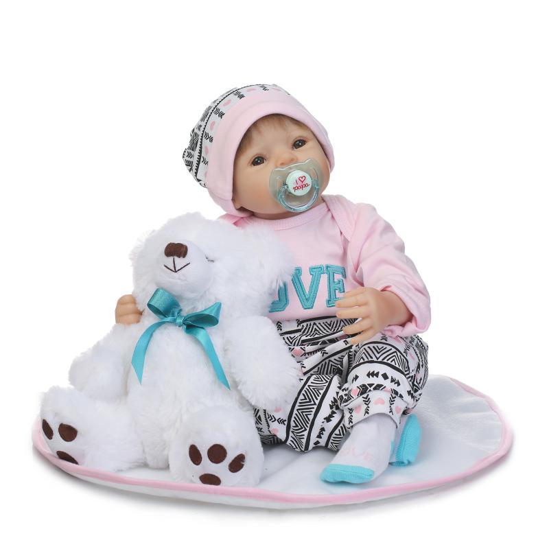 NPK 22 doll reborn soft cloth body silicone newborn girl dolls bebe alive bonecas reborn with bear plush doll for kids giftNPK 22 doll reborn soft cloth body silicone newborn girl dolls bebe alive bonecas reborn with bear plush doll for kids gift